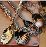 Wholesale Creative HOME Palace Afternoon Tea Coffee spoon ice cream retro Teaspoon Fruit Shell Carving style