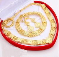 Wholesale 6 off hot sale drop shippingThe generous high end suits jewelry plated K gold suit Necklace Earring Bracelet set