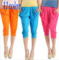 Wholesale 11color Casual sports pants Lady s Colorful Drape Harem Pants Hip Hop Stretch Trousers