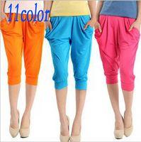 Wholesale 11PCS Mixed Colors color Casual sports pants Lady s Yoga Colorful Drape capris Harem Pants Hip Hop Stretch Trousers