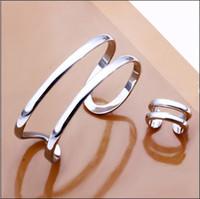 al por mayor anillos para dos de plata-Caliente de nuevo 925 plana de plata pulsera conjunto de anillo de apertura de dos líneas de joyería de moda envío gratis 5set