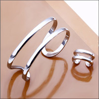 Wholesale Hot new flat silver bracelet ring set opening two lines of fashion jewelry set