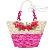 Women beach batch - Mixed Beach Bags Batch Double Color Four Flowers Bohemian Beach Straw Woven Handbag Large Shoulder Bags