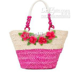 Mixed Beach Bags Batch Double Color Four Flowers Bohemian Beach Straw Woven Handbag Large Shoulder Bags
