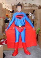Wholesale Superman Outfit Fancy party lycra zentai catsuit unitard costume with cape