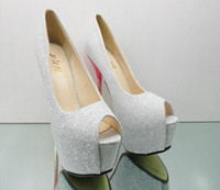 Wholesale Hot women s new super high heels white and sparkling wedding shoes