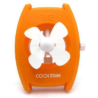 Wholesale USB battery dual watch fan mini fan orange