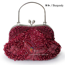 Free shipping Vintage sequin Beaded evening party clutch bag beaded wedding bridal handbag