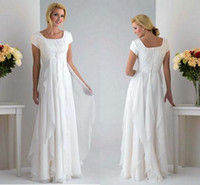 Wholesale Ivory Chiffon Column floor length Short Sleeve Glamorous Informal Wedding Bridal Gowns Mother Dress