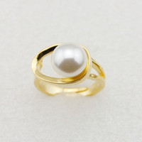 Wholesale Fashion women edgy bright luster shell bead Rings Cooper gilt adjustable elegant jewellery