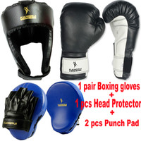 Wholesale KangRui Boxing Training Gloves Head Protect Protector Hemlet Punch Pad Mitt Muaythai Thai boxing