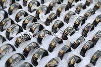 Bagues avancées en acier inoxydable noir anneau motif 17-20mm bijoux 100pcs ne pas inclure la boîte