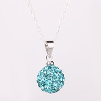 """Women's Silver Plate/Fill Pendant Necklaces Top Sale 925 Silver 10mm Disco Ball Crystal Bead Fit """"O"""" Chains Necklace pendant 18inch 45pcs Mixed"""