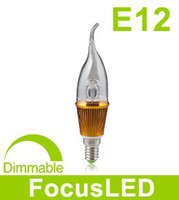 Wholesale E12 W CREE Led Candle Lamp V Dimmable Warm White Led Light Bulbs With Transparent Cover
