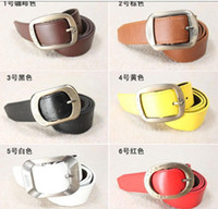 Wholesale Hot selling girl s women s leather belt PU belts with alloy metal pin mix color cool design