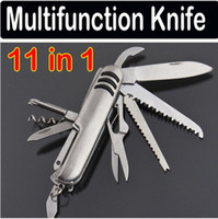 Wholesale 11 IN Stainless steel Multifunction Tool Swiss Style Army Knife Multifunction knife Emergency tool