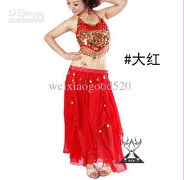 Wholesale Belly Dance Suit Exercise suit Stage clothing Small pepper tops double two piece skirt set