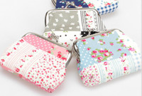 Wholesale Fresh Quilt fabric small floral iron buckle cotton bags present gift Change purse wallets hc