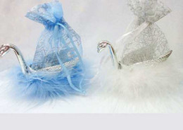 Hot selling Wedding products swan gift bag white&blue colors each color 12pcs QMSW0002 24pcs lot