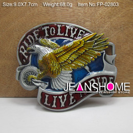 Wholesale Eagle belt buckle live to ride belt buckle with pewter plating FP