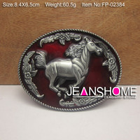 Wholesale Zinc alloy buckle western belt buckle with horse design with pewter plating FP