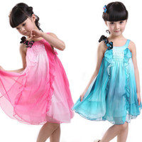 Wholesale 2012 Girls Sleeveless Harness Dress Kids Skir Beautiful Flowers Children Summer Dress