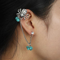 Wholesale New Arrival Punk Retro Spider Earrings Made of Copper Alloy Rhinestones Turquoise Ear Cuff Earrings
