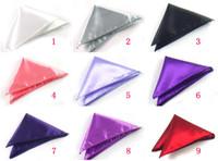 many color mens tie handkerchief - Formal Mens Satin Solid Color Pocket Square Handkerchief Hanky Napkin Wedding Party Banquet Can Choose Color