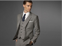 Wholesale Men Business Suit Custom made suit Men grey Three piece Suit jacket pant vest