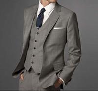 Wholesale Men custom made suit Fashion Business Men grey two piece Suit jacket pant