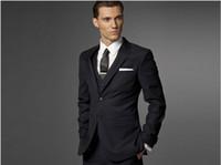 Pant Suit army navy vest - Custom made Men Fashion Business suit Men navy stripe Three piece Suit jacket pants vest