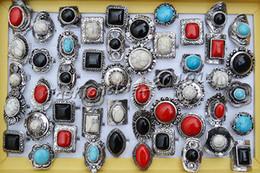Rings Lots 25pcs large tibetan tribe assorted gemstone Silver tone ring Jewelry 17-19mm adjutable