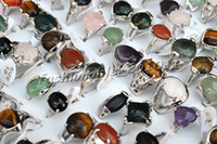 Wholesale Silver Tone Jewelry Box - Rings Lots 100pcs assorted Natural Gemstone Silver tone ring Jewelry 17-19mm not include box