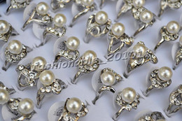 Rings Lots 50pcs assorted Imitated Pearl Rhinestone Silver Plated woman ring Jewelry 16-19mm