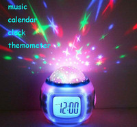 Wholesale Color Change Star Sky Digital Projection Alarm Clock Backlight Music Projector thermometer carlendar