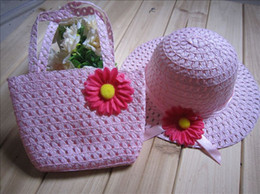 wholesale 5 pcs 2012 children hat summer heat, the sun hat girls cap, handbag 2 PCS per set