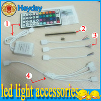 Wholesale 300 SMD connector cable color wire pins LED strip light IR remote controller keys RGB