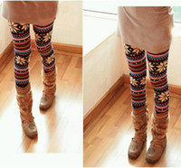 Wholesale Knitted Colorful Crystal Pattern Leggings Tights Pants with tracking number
