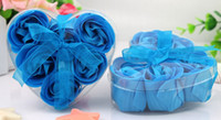 Cheap Bule Rose Petals Soap Wedding Favor Heart Shaped Box Gift Appliance Handmade