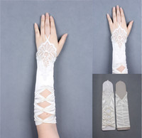Wholesale Cheap Free Size White Ivory Lace Applique Pearls Wedding Gloves Fingerless Hollow Sexy Bridal Gloves