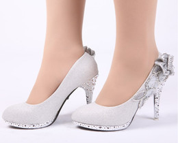 Wholesale Hot sales Women s Fashion Shoes Silver Sequin Cloth High heeled shoes Bride Wedding Shoes Round Toes Shoes