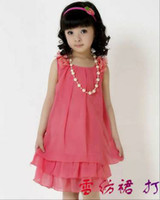 Wholesale 2012 Summer Children dress High Quality Girls bow chiffon vest dress Cheap Child Cloths Store RT29