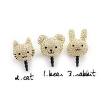 Wholesale Lovely cat bear rabbit head cell phone dustproof plug iphone mini ear cap accessories