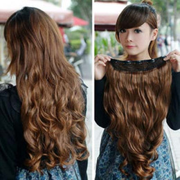 Wholesale Hair Extension Clips On sexy stylish Women s Long Curl Curly Wavy Light Brown W002