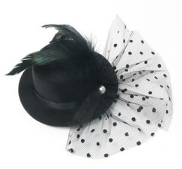 Wholesale 6 Colors Mixed cm Christmas Party Mini Top Hat Feather Hair Clips Hair Fascinator hats