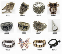 Wholesale mix order hot sale owl vintage rings European fashion costume jewelry