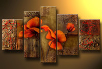 Wholesale Art Modern Abstract Flower Painting Museum Quality Oil Painting Pentaptych Popular Wall Decor Sale