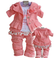 Wholesale Pink Girl Suits kids pieces children long sleeve suit jackets t shirt pants sets china post