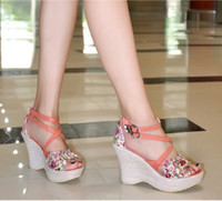 Wholesale 2012 New High Heels Wedge Sandal Shoes Platform Sandal Shoes Women s Wegde Sandal Shoes S028
