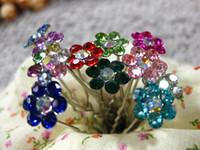 Wholesale pc Fashion Rhinestone Flower Crystal Hair Pins Clips Hairwear Wedding Bridal Hair Jewelry Mix Color HJ1202